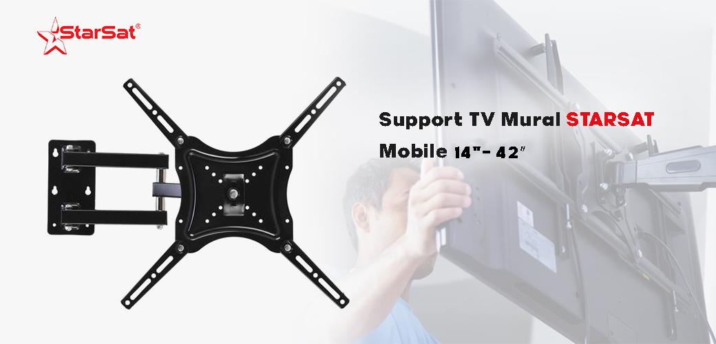 "SUPPORT MURAL MOBILE POUR TV 14""-42″ prix tunisie"